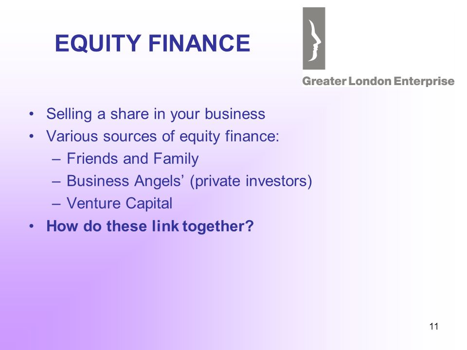 11 EQUITY FINANCE Selling a share in your business Various sources of equity finance: –Friends and Family –Business Angels (private investors) –Venture Capital How do these link together?