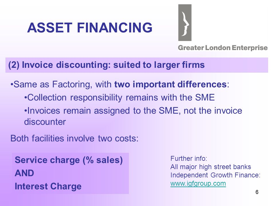 6 ASSET FINANCING (2) Invoice discounting: suited to larger firms Same as Factoring, with two important differences: Collection responsibility remains with the SME Invoices remain assigned to the SME, not the invoice discounter Both facilities involve two costs: Service charge (% sales) AND Interest Charge Further info: All major high street banks Independent Growth Finance: www.igfgroup.com www.igfgroup.com