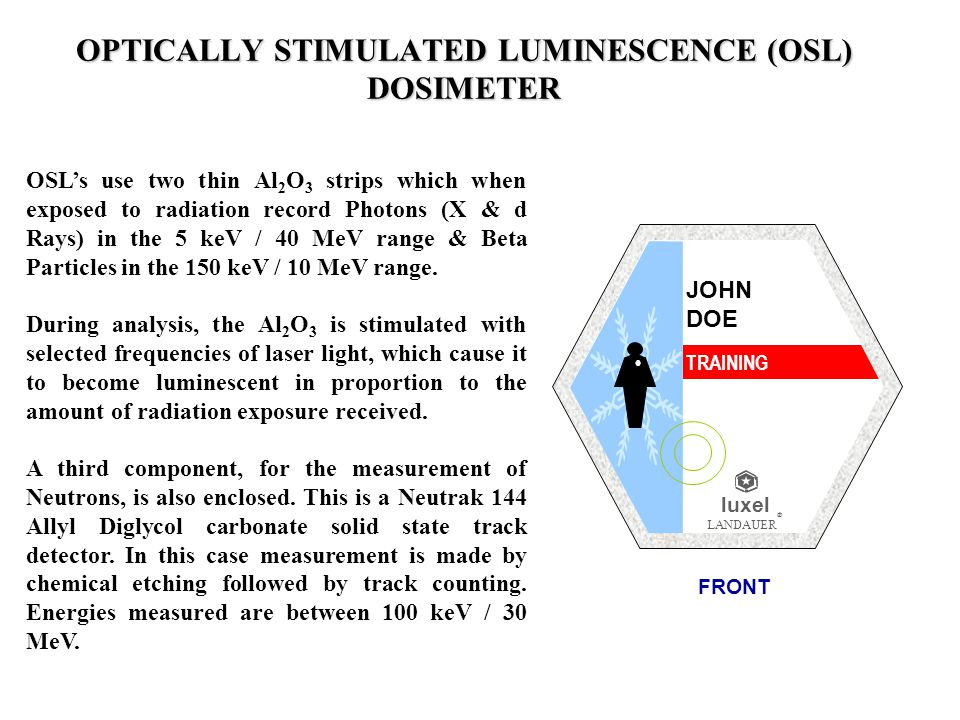 OSLs use two thin Al 2 O 3 strips which when exposed to radiation record Photons (X & d Rays) in the 5 keV / 40 MeV range & Beta Particles in the 150