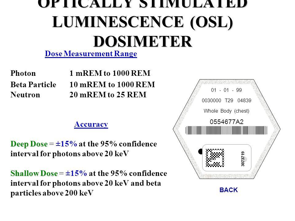 Dose Measurement Range Photon1 mREM to 1000 REM Beta Particle10 mREM to 1000 REM Neutron20 mREM to 25 REM Accuracy Deep Dose Deep Dose = ±15% at the 9