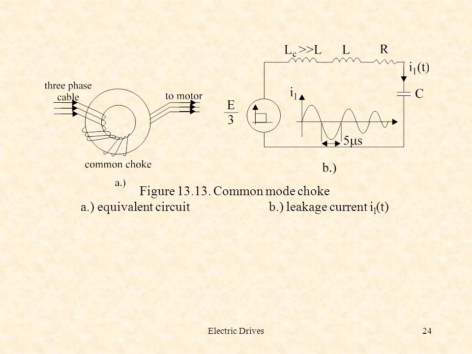 Electric Drives24 Figure 13.13. Common mode choke a.) equivalent circuitb.) leakage current i l (t)