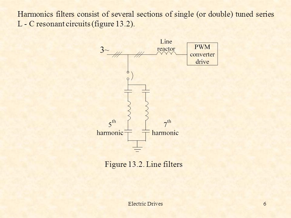 Electric Drives6 Harmonics filters consist of several sections of single (or double) tuned series L - C resonant circuits (figure 13.2). Figure 13.2.