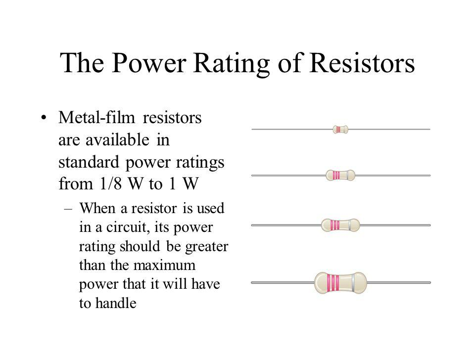 The Power Rating of Resistors Metal-film resistors are available in standard power ratings from 1/8 W to 1 W –When a resistor is used in a circuit, it
