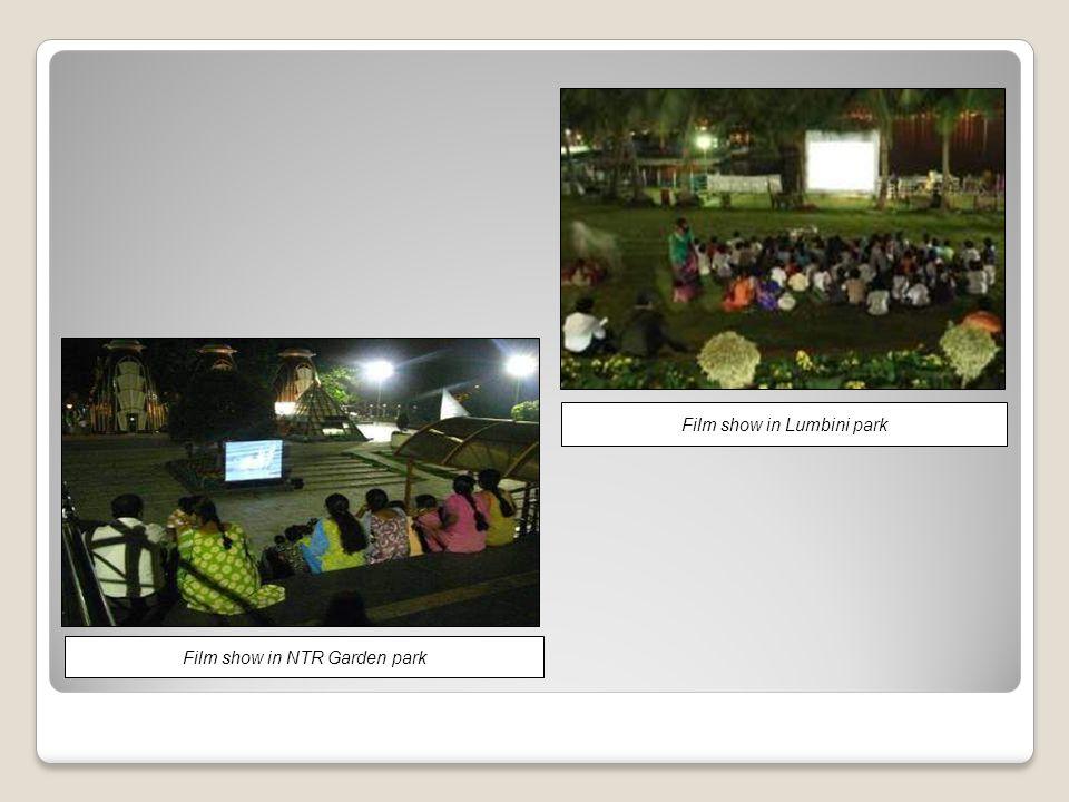 Film show in NTR Garden park Film show in Lumbini park