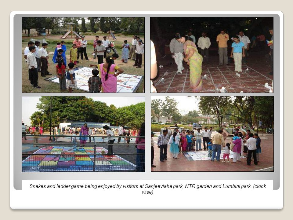 Snakes and ladder game being enjoyed by visitors at Sanjeeviaha park, NTR garden and Lumbini park.