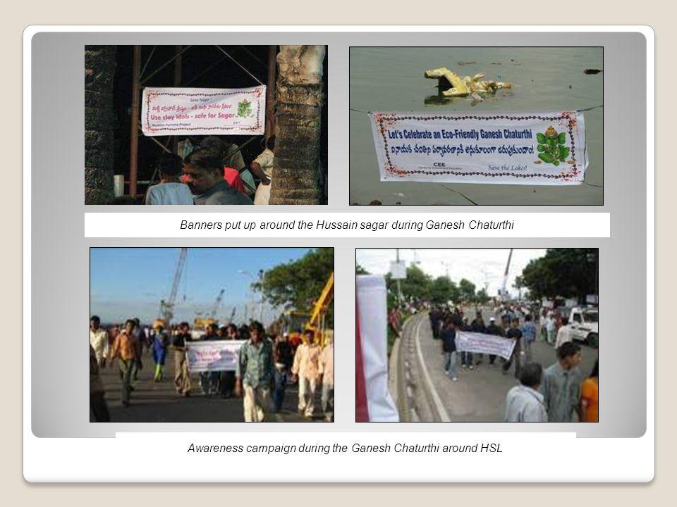 Banners put up around the Hussain sagar during Ganesh Chaturthi Awareness campaign during the Ganesh Chaturthi around HSL