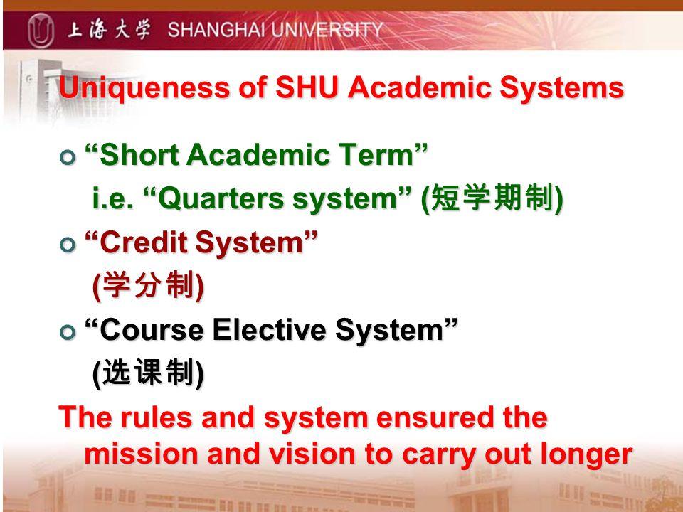 Uniqueness of SHU Academic Systems Short Academic Term Short Academic Term i.e.