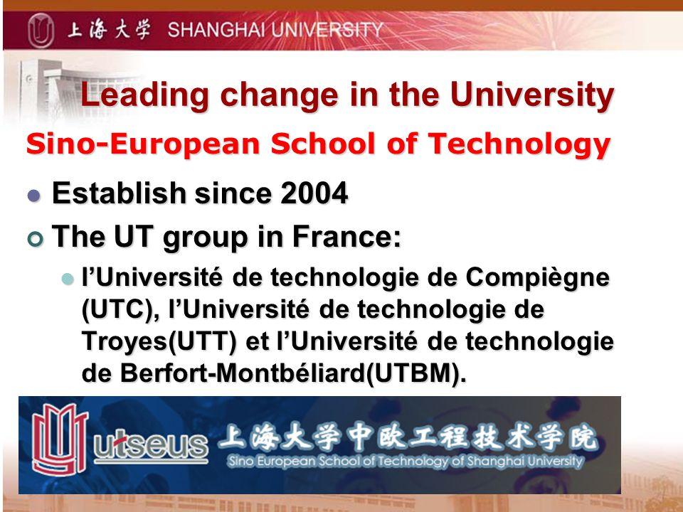 Leading change in the University Sino-European School of Technology Establish since 2004 Establish since 2004 The UT group in France: The UT group in France: lUniversité de technologie de Compiègne (UTC), lUniversité de technologie de Troyes(UTT) et lUniversité de technologie de Berfort-Montbéliard(UTBM).