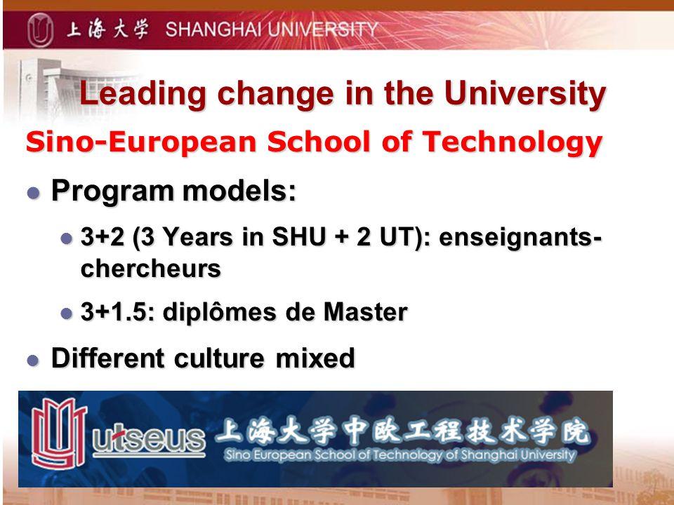 Leading change in the University Sino-European School of Technology Program models: Program models: 3+2 (3 Years in SHU + 2 UT): enseignants- chercheurs 3+2 (3 Years in SHU + 2 UT): enseignants- chercheurs 3+1.5: diplômes de Master 3+1.5: diplômes de Master Different culture mixed Different culture mixed