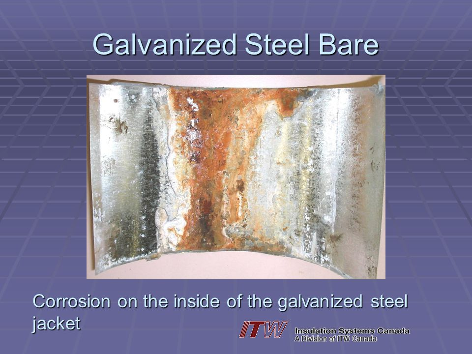 Galvanized Steel Bare Corrosion on the inside of the galvanized steel jacket