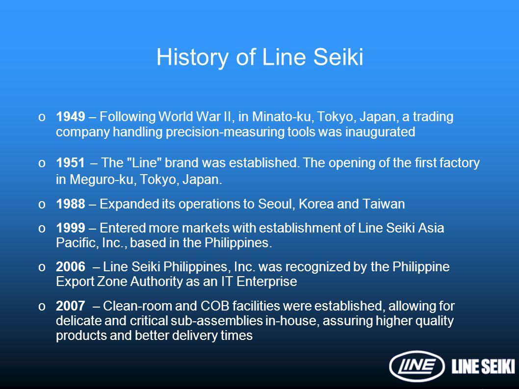 o1949 – Following World War II, in Minato-ku, Tokyo, Japan, a trading company handling precision-measuring tools was inaugurated o1951 – The
