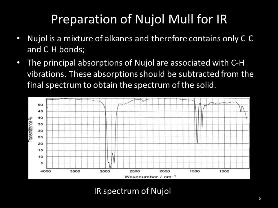 Preparation of Nujol Mull for IR Nujol is a mixture of alkanes and therefore contains only C-C and C-H bonds; The principal absorptions of Nujol are a