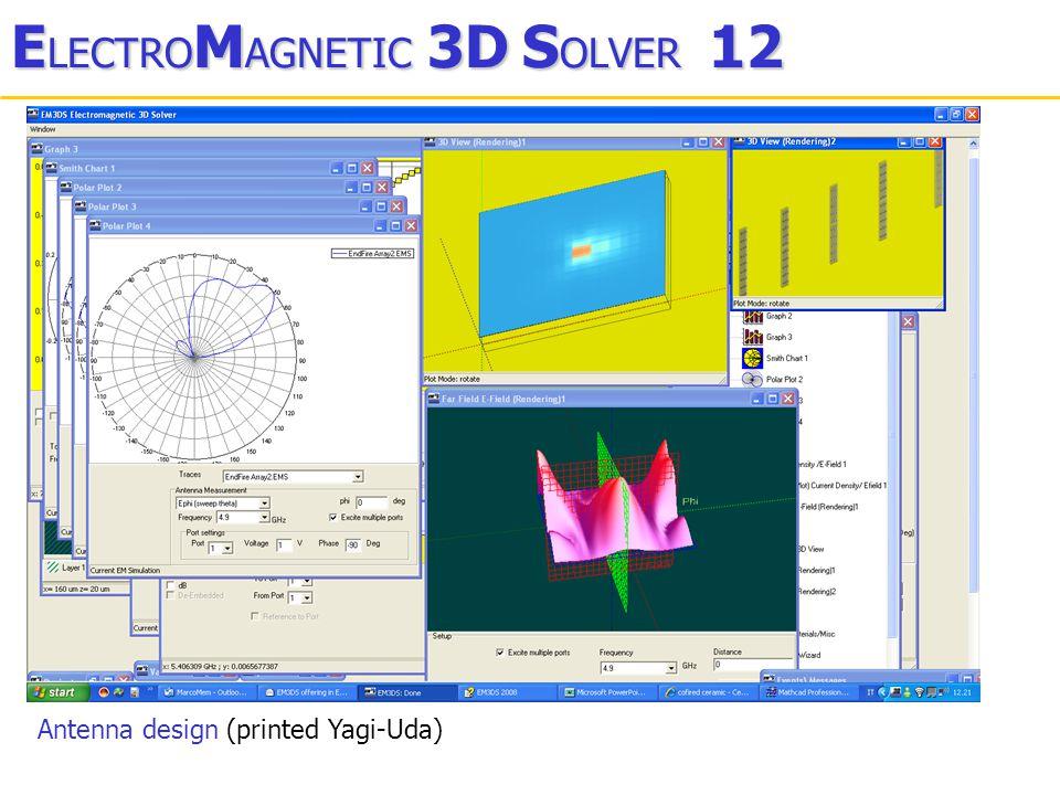 E LECTRO M AGNETIC 3D S OLVER 12 Antenna design (printed Yagi-Uda)