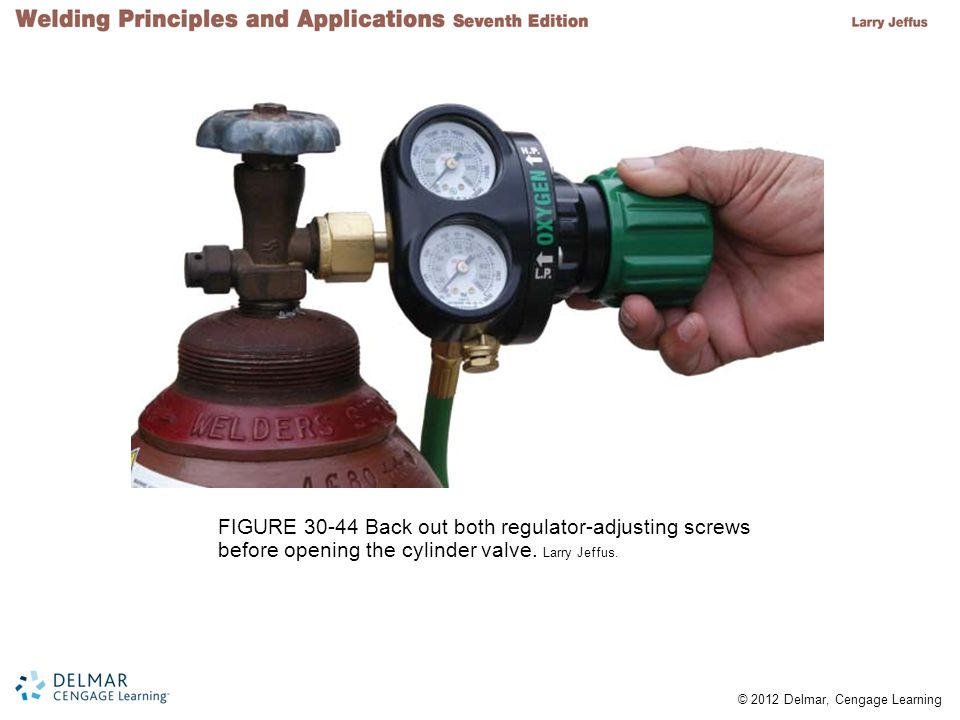 © 2012 Delmar, Cengage Learning FIGURE 30-44 Back out both regulator-adjusting screws before opening the cylinder valve. Larry Jeffus.