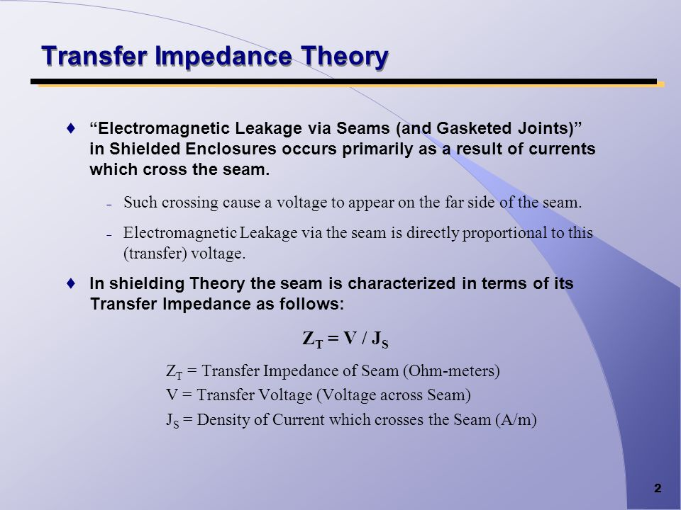 2 Transfer Impedance Theory Electromagnetic Leakage via Seams (and Gasketed Joints) in Shielded Enclosures occurs primarily as a result of currents wh