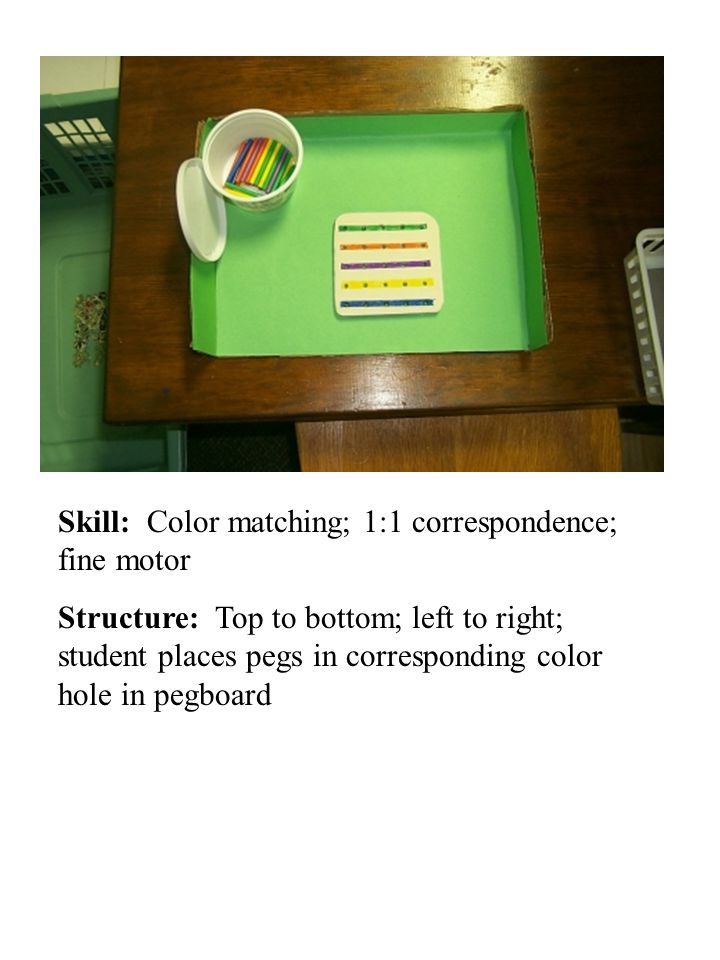 Skill: Color matching; 1:1 correspondence; fine motor Structure: Top to bottom; left to right; student places pegs in corresponding color hole in pegb