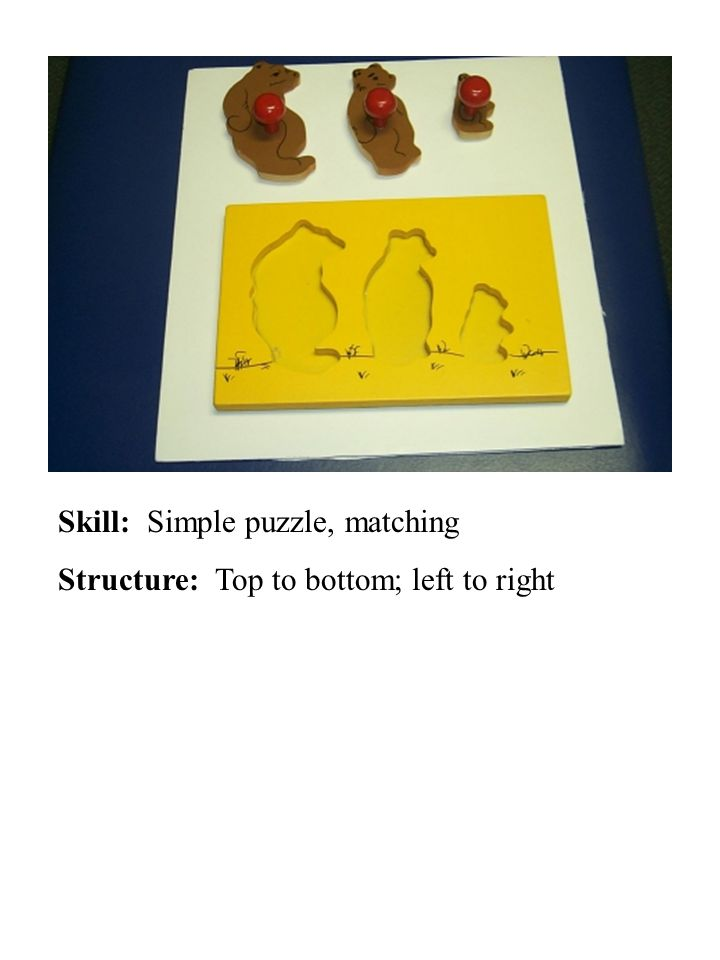 Skill: Simple puzzle, matching Structure: Top to bottom; left to right