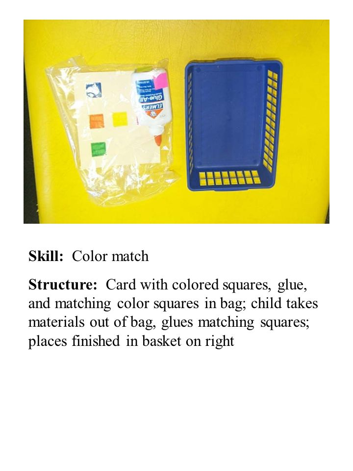 Skill: Color match Structure: Card with colored squares, glue, and matching color squares in bag; child takes materials out of bag, glues matching squares; places finished in basket on right