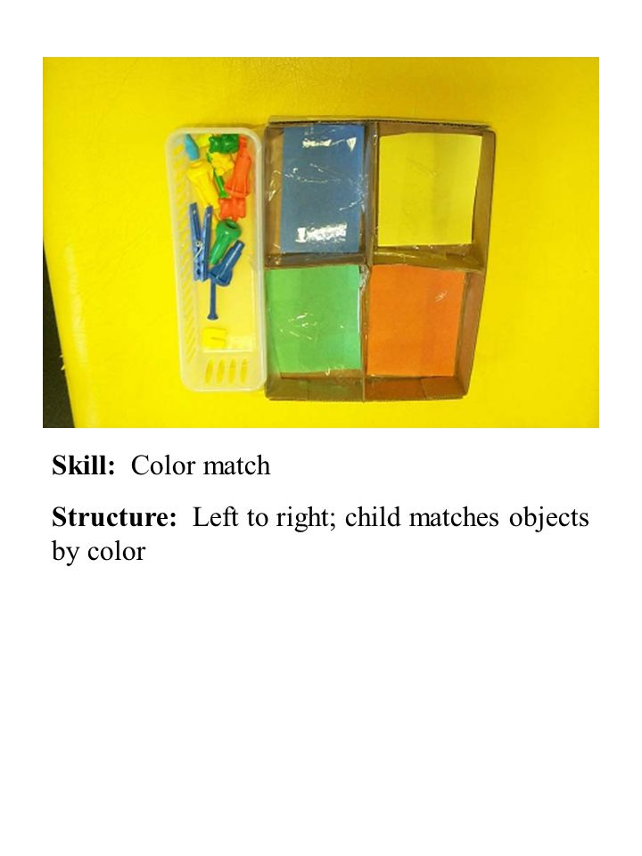 Skill: Color match Structure: Left to right; child matches objects by color
