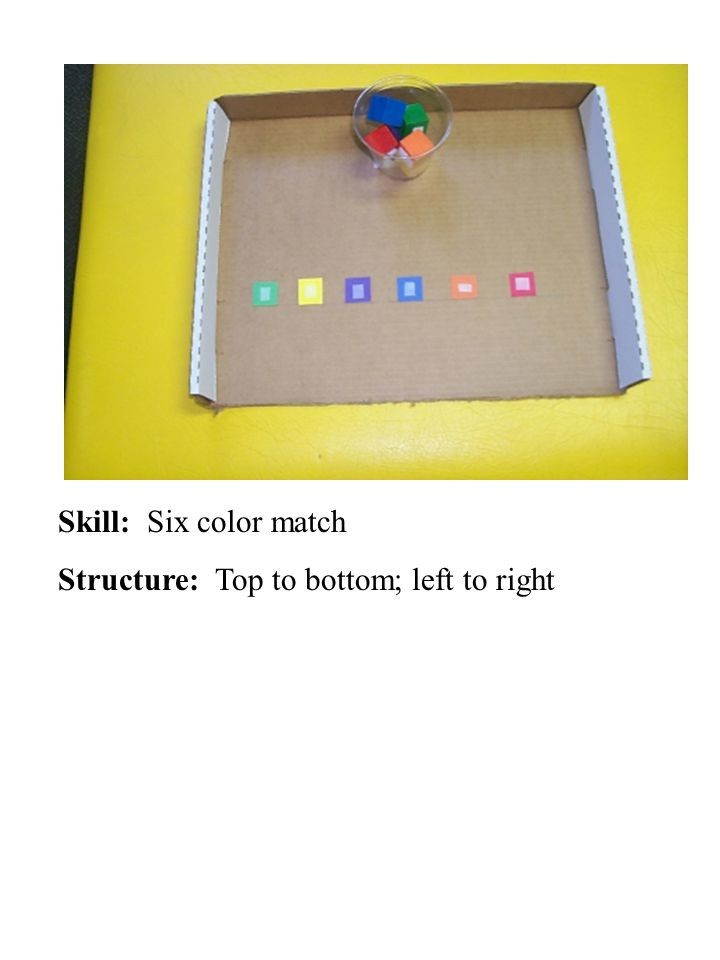 Skill: Six color match Structure: Top to bottom; left to right