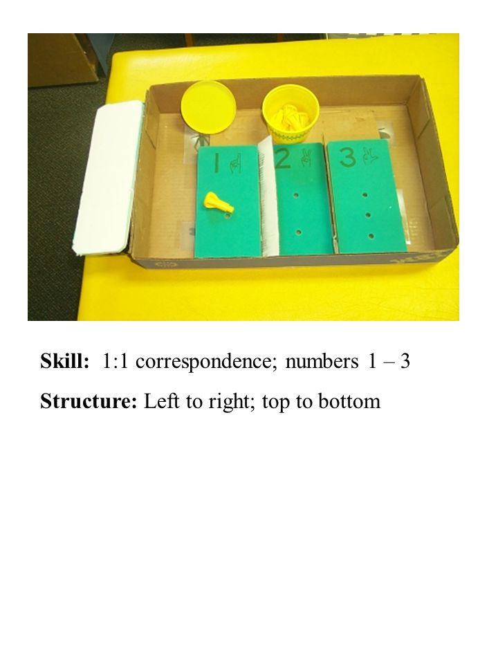 Skill: 1:1 correspondence; numbers 1 – 3 Structure: Left to right; top to bottom