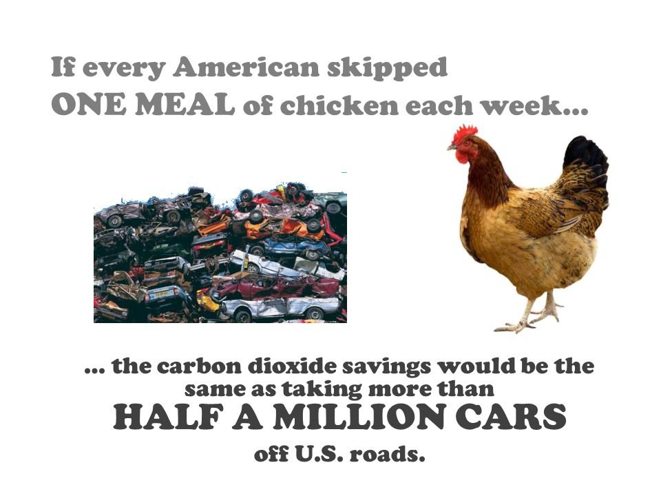 If every American skipped ONE MEAL of chicken each week… … the carbon dioxide savings would be the same as taking more than HALF A MILLION CARS off U.S.