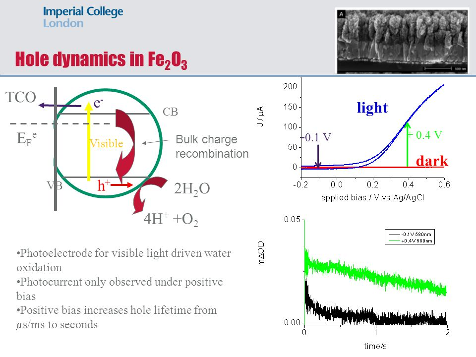 light dark Hole dynamics in Fe 2 O 3 Visible e-e- h+h+ CB VB TCO 2H 2 O 4H + +O 2 Bulk charge recombination EFeEFe - 0.1 V + 0.4 V Photoelectrode for