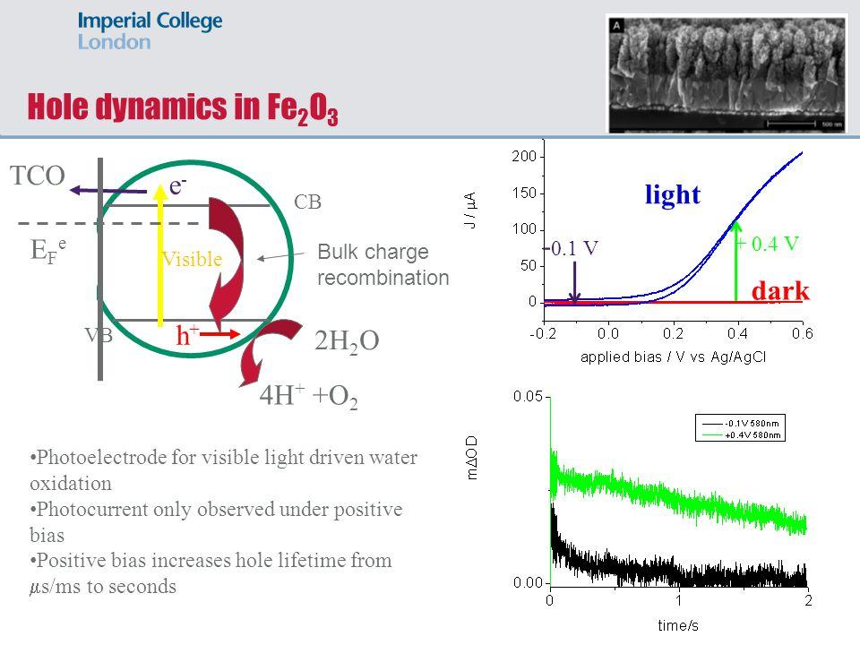 light dark Hole dynamics in Fe 2 O 3 Visible e-e- h+h+ CB VB TCO 2H 2 O 4H + +O 2 Bulk charge recombination EFeEFe - 0.1 V + 0.4 V Photoelectrode for