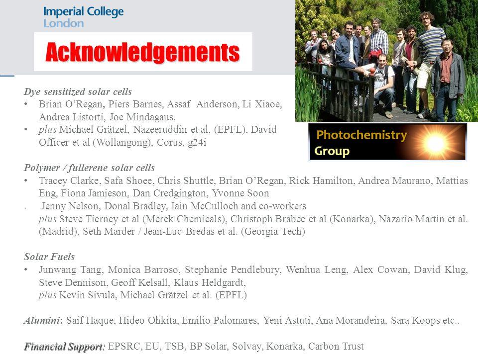 Acknowledgements Dye sensitized solar cells Brian ORegan, Piers Barnes, Assaf Anderson, Li Xiaoe, Andrea Listorti, Joe Mindagaus. plus Michael Grätzel