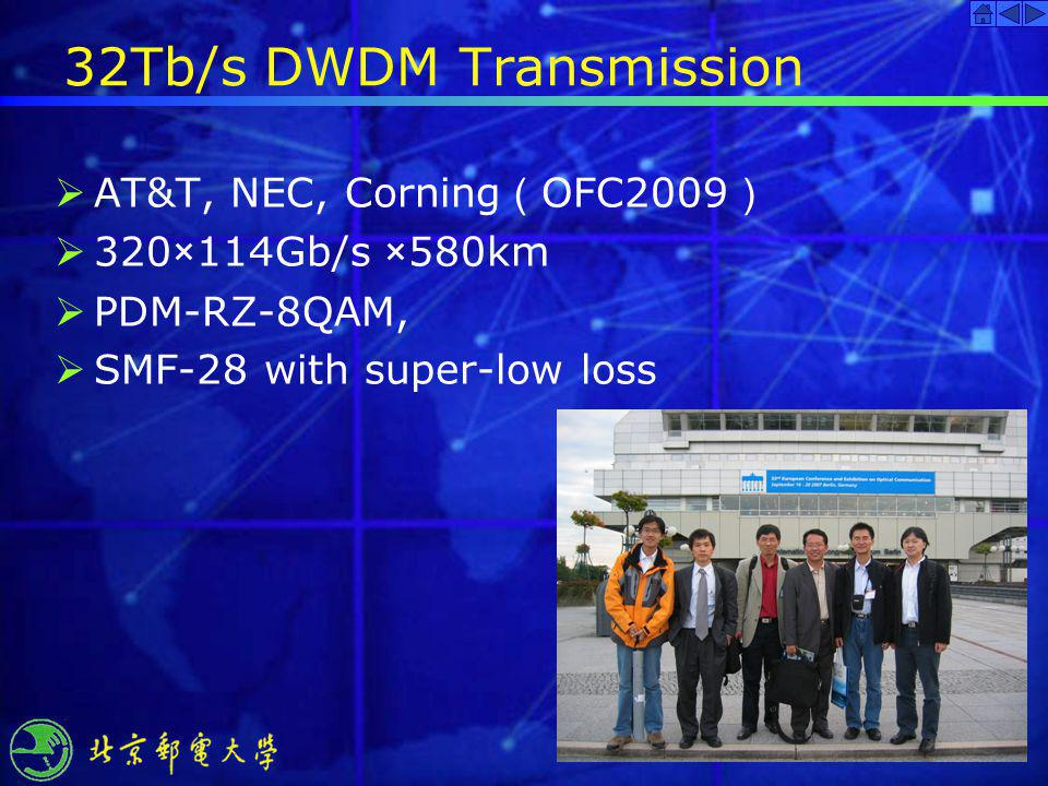 32Tb/s DWDM Transmission AT&T, NEC, Corning OFC2009 320×114Gb/s ×580km PDM-RZ-8QAM, SMF-28 with super-low loss