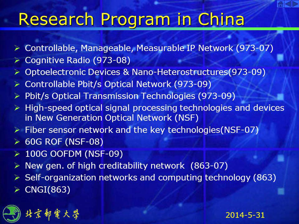 2014-5-31 Research Program in China Controllable, Manageable, Measurable IP Network (973-07) Cognitive Radio (973-08) Optoelectronic Devices & Nano-He