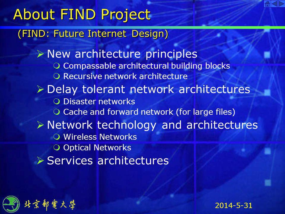 2014-5-31 About FIND Project (FIND: Future Internet Design) New architecture principles Compassable architectural building blocks Recursive network ar