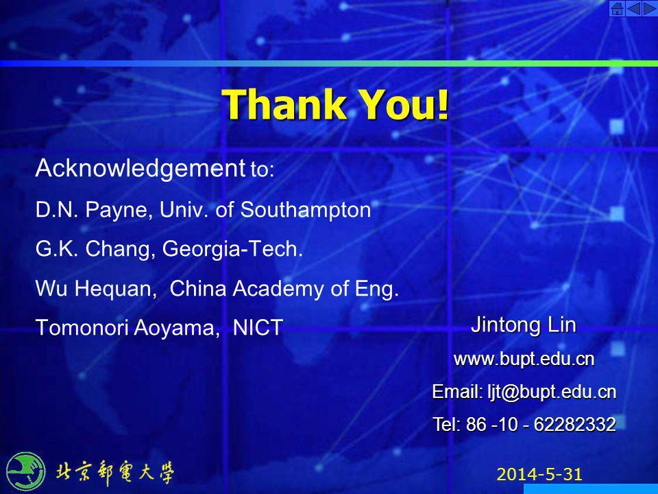 2014-5-31 Thank You! Jintong Lin www.bupt.edu.cn Email: ljt@bupt.edu.cn Tel: 86 -10 - 62282332 Acknowledgement to: D.N. Payne, Univ. of Southampton G.