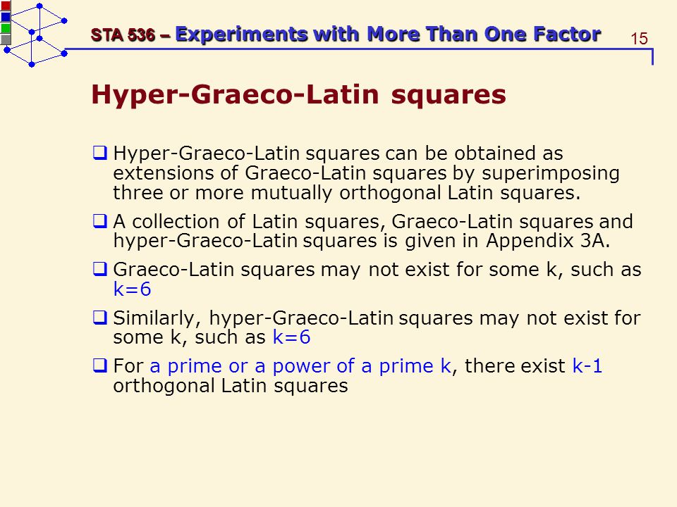 15 STA 536 – Experiments with More Than One Factor Hyper-Graeco-Latin squares Hyper-Graeco-Latin squares can be obtained as extensions of Graeco-Latin squares by superimposing three or more mutually orthogonal Latin squares.