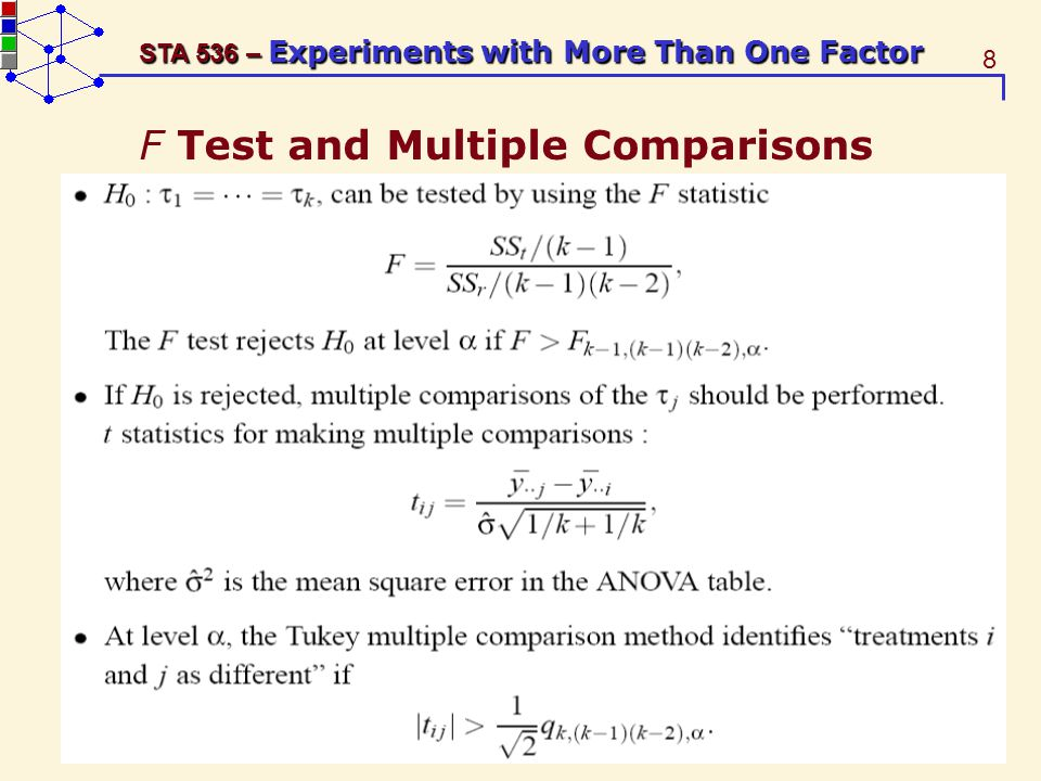 29 STA 536 – Experiments with More Than One Factor There is no difference between the three starch types with a p-value of 0.3597 (=Prob(F 2,45 > 1.05)).