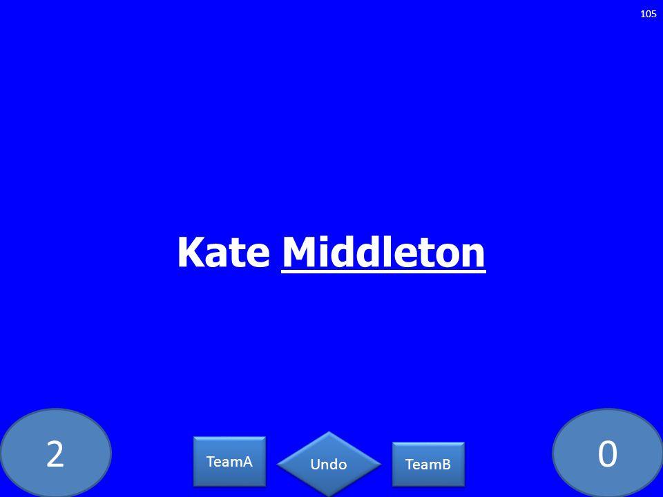 20 Kate Middleton 105 TeamA TeamB Undo