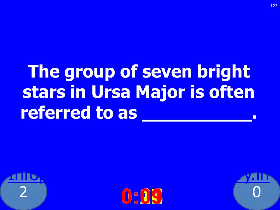 20 The group of seven bright stars in Ursa Major is often referred to as __________. ig Dipper: meaning and definitions Infoplease.com http://dictiona