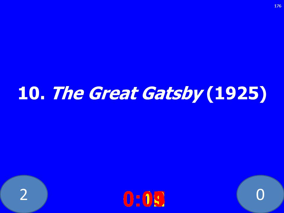 20 10. The Great Gatsby (1925) 0:020:030:040:050:060:070:080:100:110:120:090:01 176