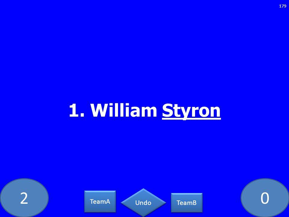20 1. William Styron 179 TeamA TeamB Undo