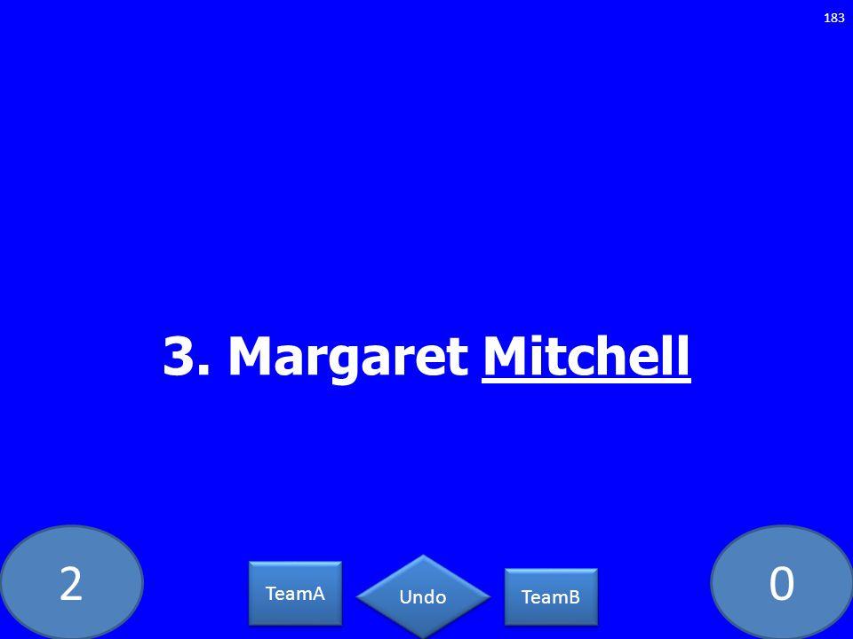 20 3. Margaret Mitchell 183 TeamA TeamB Undo