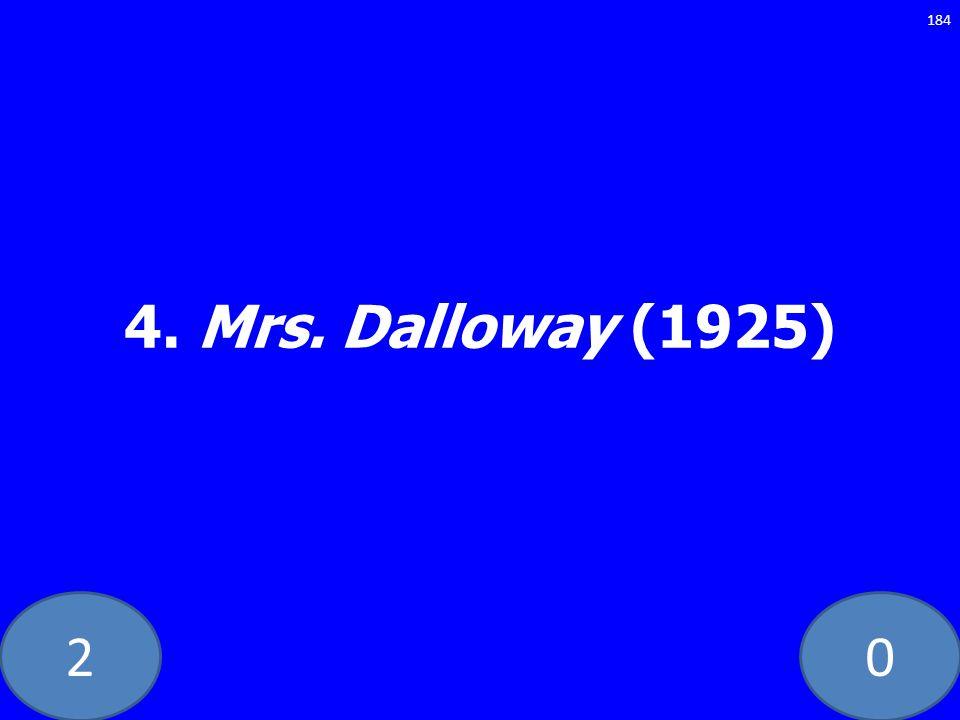 20 4. Mrs. Dalloway (1925) 184