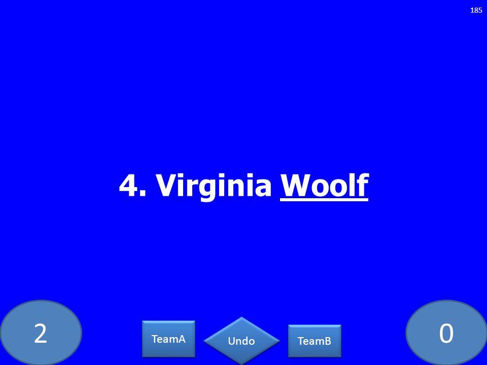 20 4. Virginia Woolf 185 TeamA TeamB Undo
