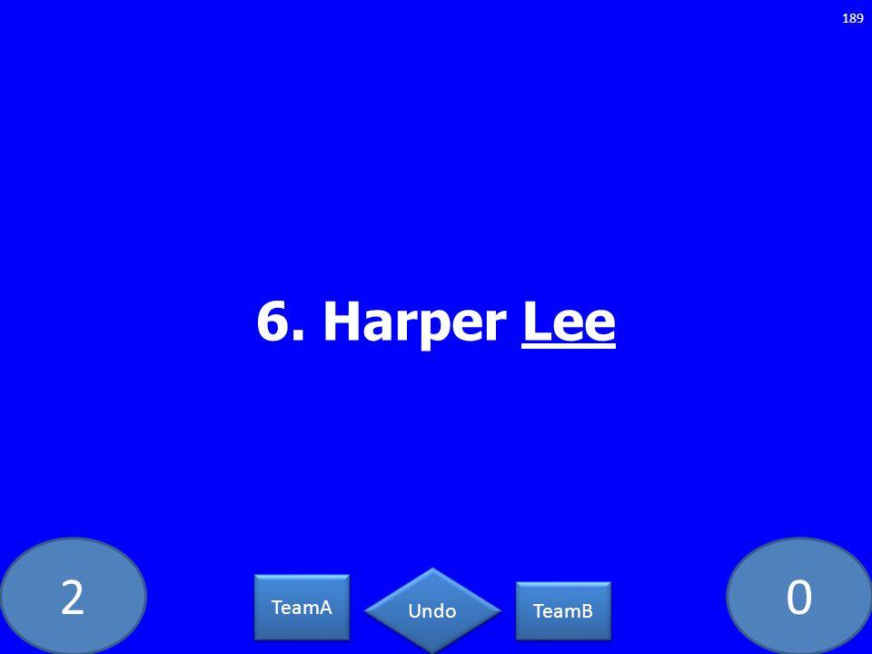 20 6. Harper Lee 189 TeamA TeamB Undo