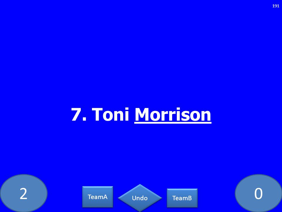 20 7. Toni Morrison 191 TeamA TeamB Undo