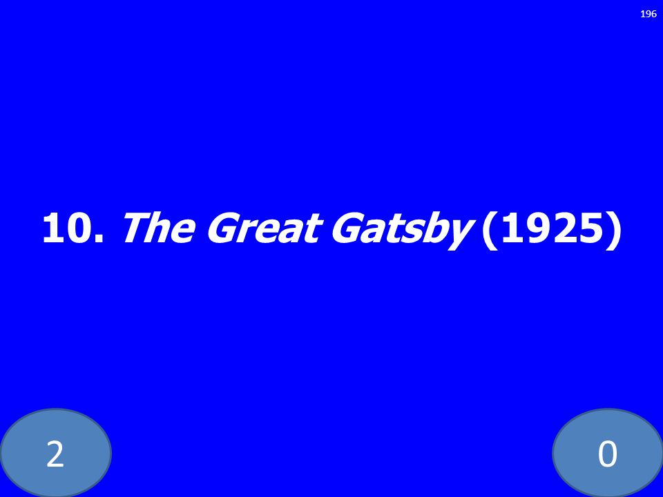 20 10. The Great Gatsby (1925) 196
