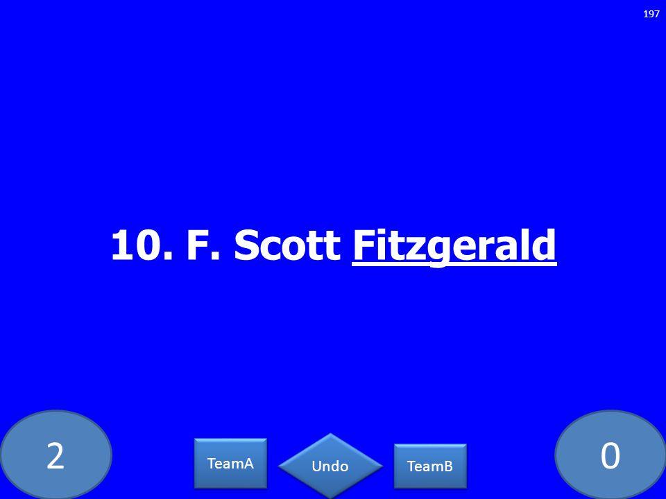 20 10. F. Scott Fitzgerald 197 TeamA TeamB Undo