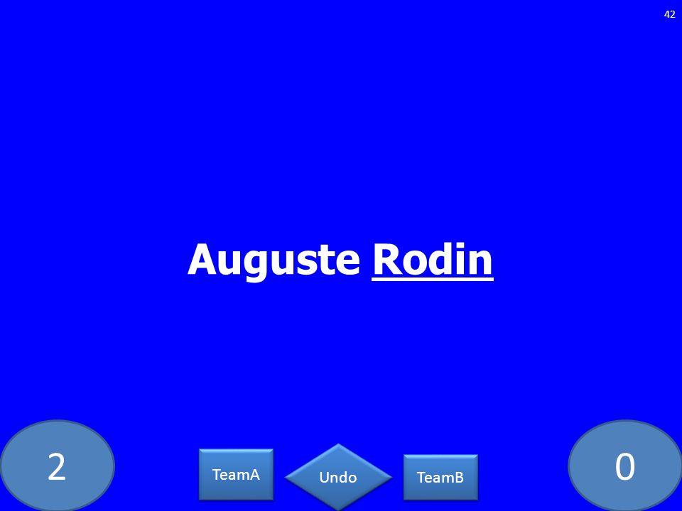 20 Auguste Rodin 42 TeamA TeamB Undo