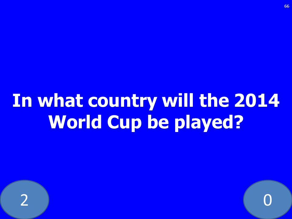 20 In what country will the 2014 World Cup be played? 66