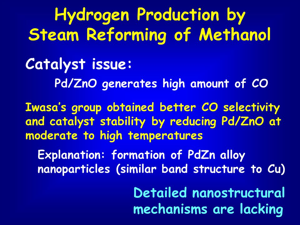 Hydrogen Production by Steam Reforming of Methanol Catalyst issue: Pd/ZnO generates high amount of CO Iwasas group obtained better CO selectivity and