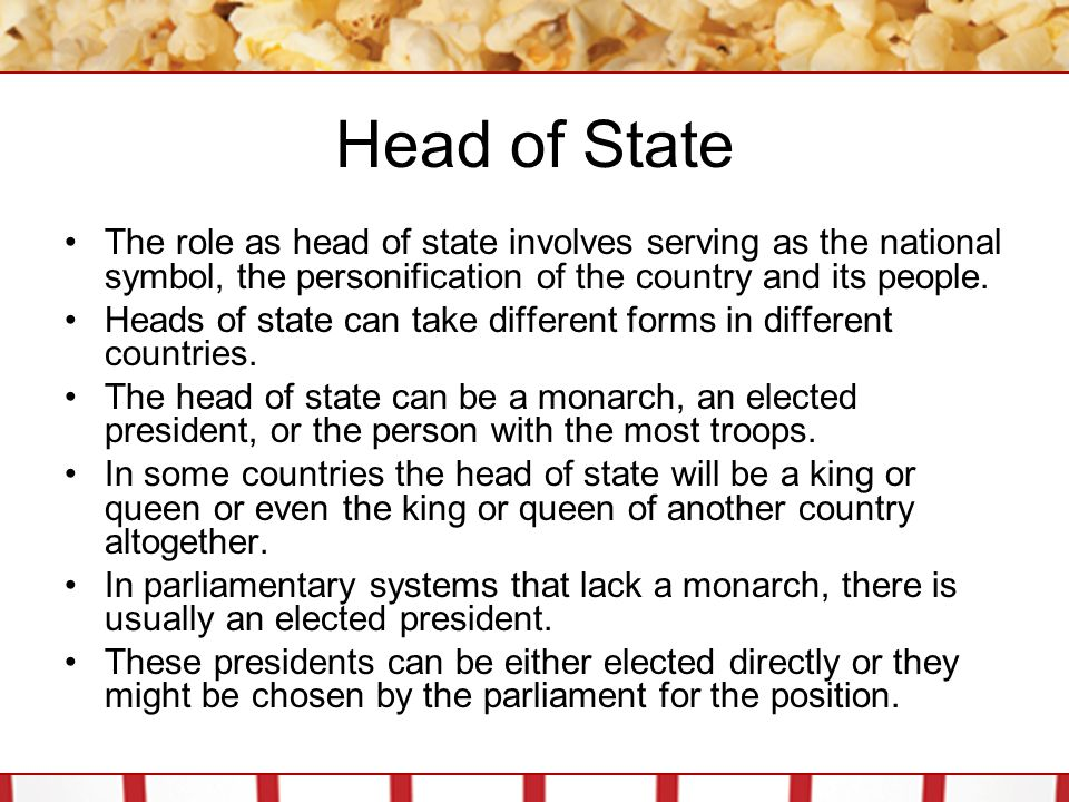 Head of State The role as head of state involves serving as the national symbol, the personification of the country and its people. Heads of state can